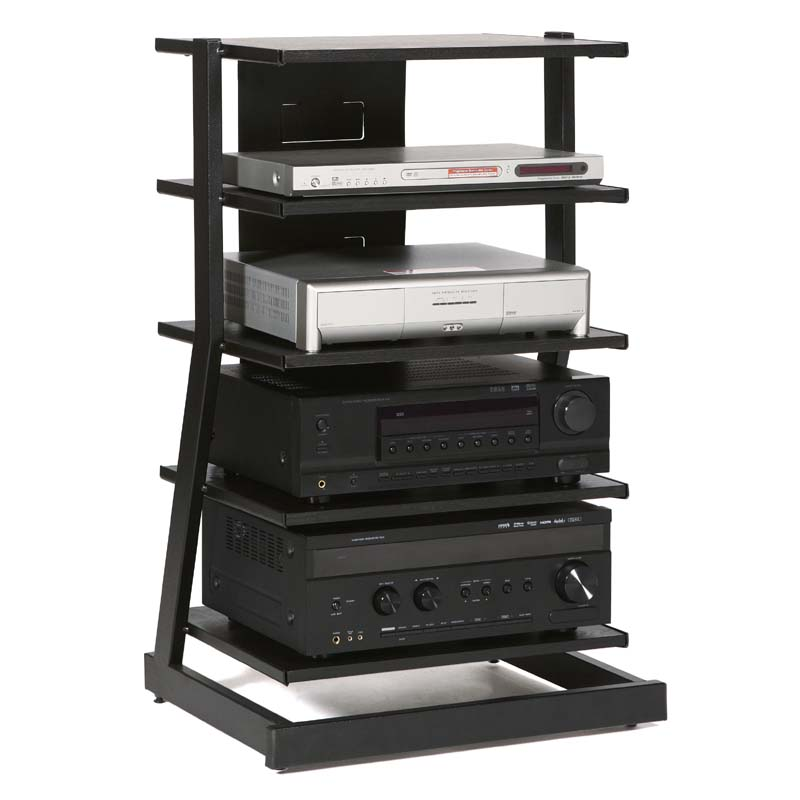 Plateau Z Series 5-Shelf Modern Audio Rack Black Z-5AB