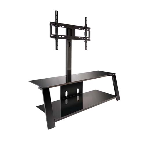 bello triple play tv stand with swivel mount for 60 inch screens black tp4452. Black Bedroom Furniture Sets. Home Design Ideas