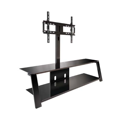 bello triple play tv stand with swivel mount for 70 inch screens black tp4463. Black Bedroom Furniture Sets. Home Design Ideas