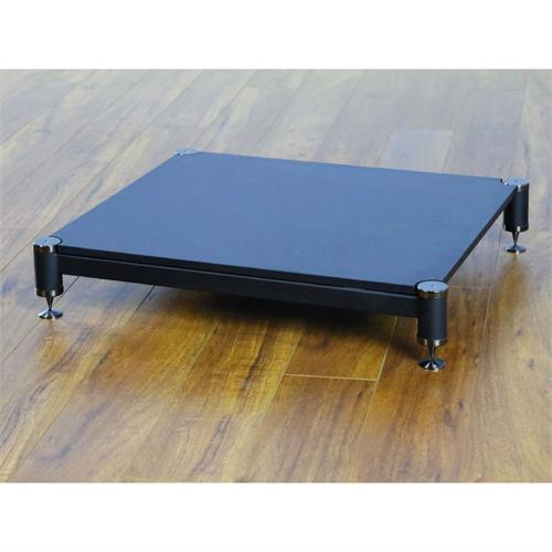 View a larger image of the VTI Amp Stand (Black Caps, Black Poles and Black Shelf) BL404BB-01.