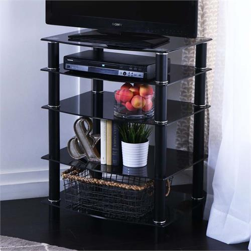 View a larger image of Walker Edison Everest Black Glass Multilevel TV Component Stand for flat panel TV's up to 35 inches V35CMPB.