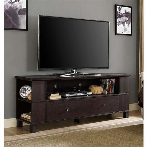 walker edison 65 inch tv stand with multimedia storage espresso p60cmpes. Black Bedroom Furniture Sets. Home Design Ideas