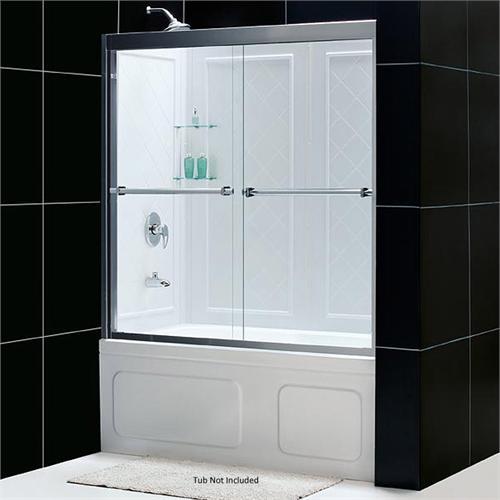 DreamLine Duet Dual Sliding Glass Tub Doors And Q Wall Combo DL 6923