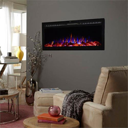 Touchstone Sideline 50 inch Wall Mounted Recessed Electric Fireplace Black 80004 is a beautiful wall mounted electric fireplace with realistic flames and contemporary black frame designed for recessed mounting in wall. All electric fireplaces ship free!