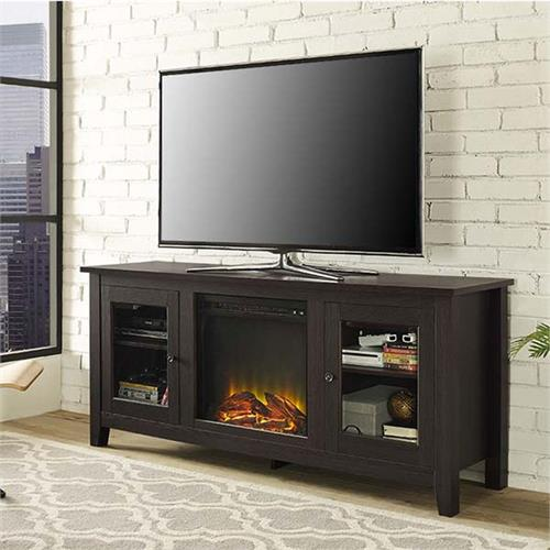 Walker Edison 60 Inch Tv Stand With Electric Fireplace Espresso W58fp4dwes