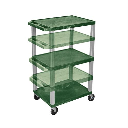 View a larger image of the Luxor WT1642HG-N Hunter Green 3 Shelf Multi Height Cart.