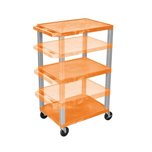 View a larger image of the Luxor WT1642OR-N Orange 3 Shelf Multi Height Cart.