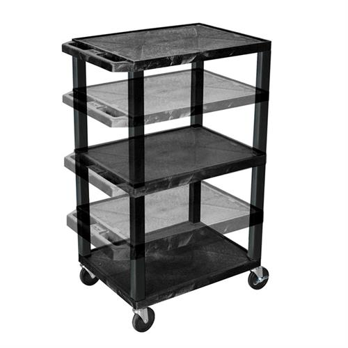 View a larger image of the Luxor WT1642-B 3 Black Shelf Multi Height Cart.