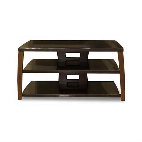 tech craft monaco walnut black glass tv stand for 30 42. Black Bedroom Furniture Sets. Home Design Ideas