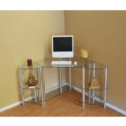 rta glass corner computer desk with 2 side shelves silver