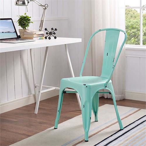 Walker Edison Single Metal Cafe Chair Mint Green Ch33mcmt