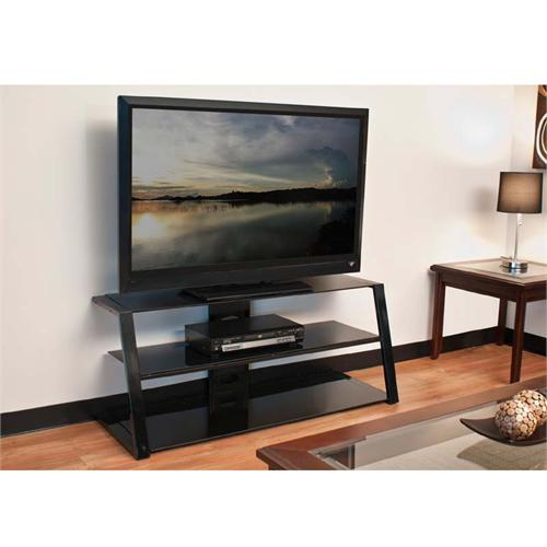 Tech craft ultra slim profile 52 tv stand black glass pcu48 for Tech craft tv stands