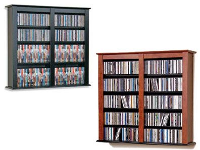 View a large image of the Prepac Double-Wide Floating CD Wall Rack Black or Cherry FW-0349 here.