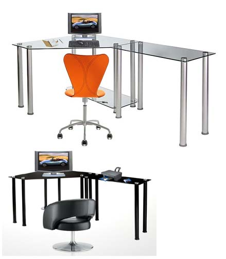 View A Larger Image Of The RTA Glass Corner Computer Desk With 1 Side  Extension Table