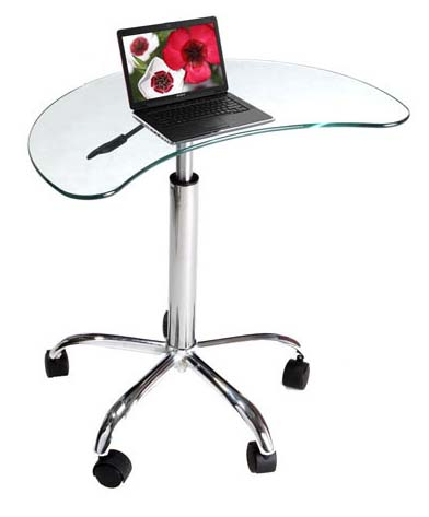 View a large image of the RTA Mobile Glass Kidney-Shaped Laptop Stand LT-020 here.