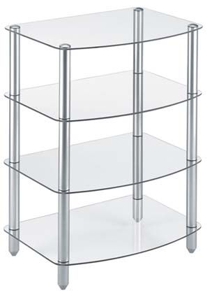 View a large image of the Vantage Point 4-Shelf Clear Glass Audio Rack VPAGG409-S here.