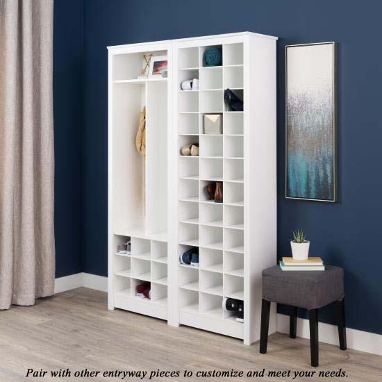 Prepac Space Saving Shoe Storage Cabinet White Wusr 0009 1
