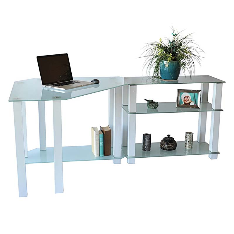 Rta Frosted Glass Corner Computer Desk With Right Side Extension Table White Ct 01302w