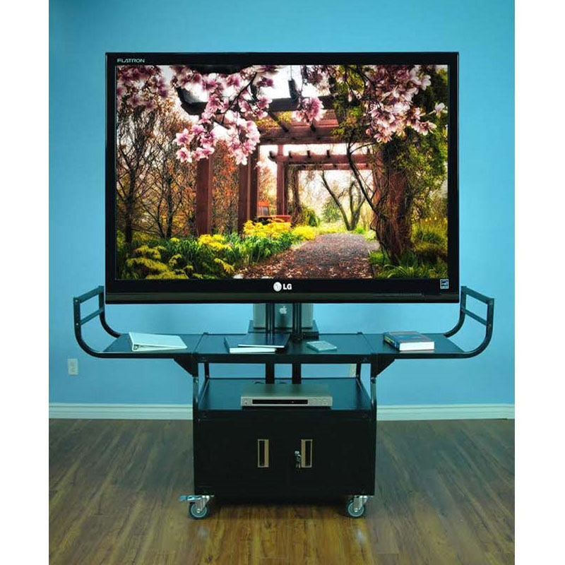 VTI Audio Video Cart With 80 Inch TV Mount And Locking Cabinet 10400