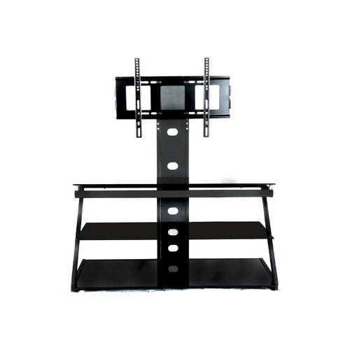 Rta Tier One Designs 60 Black Glass Tv Stand With Tv Mount Black T1d 106