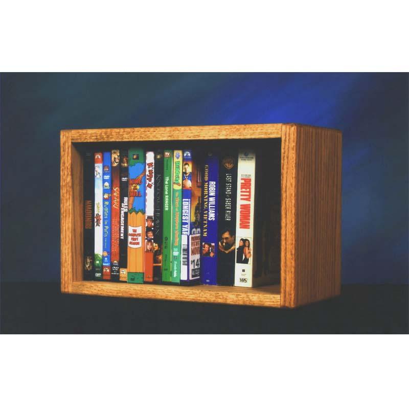 Wood Shed Solid Oak Cd Dvd Vhs Wall Mount Media Storage