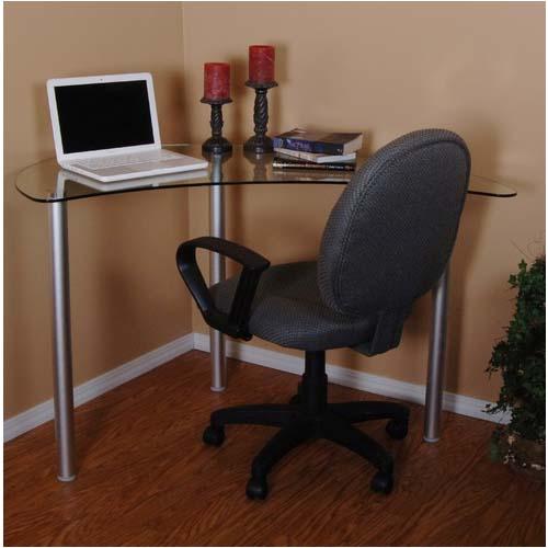 Tier One Clear Glass Corner Computer Desk (Silver) T1D 121