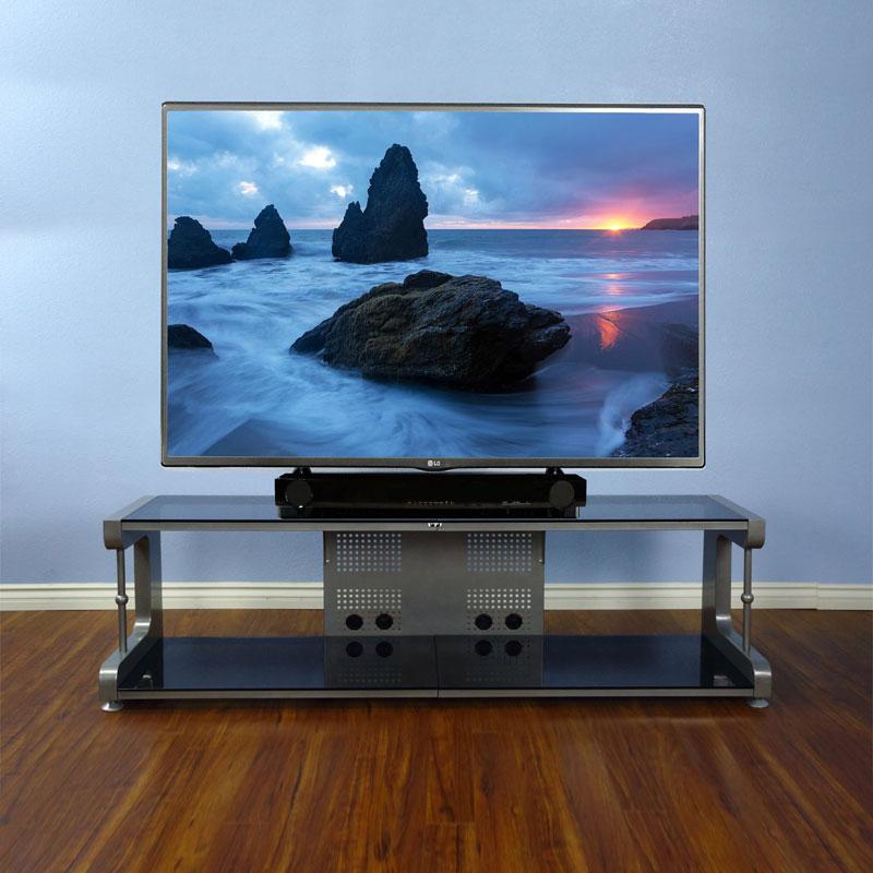 Vti 20800 Series 75 Inch Tv Stand Av Rack Silver Frame Black Gl 20864