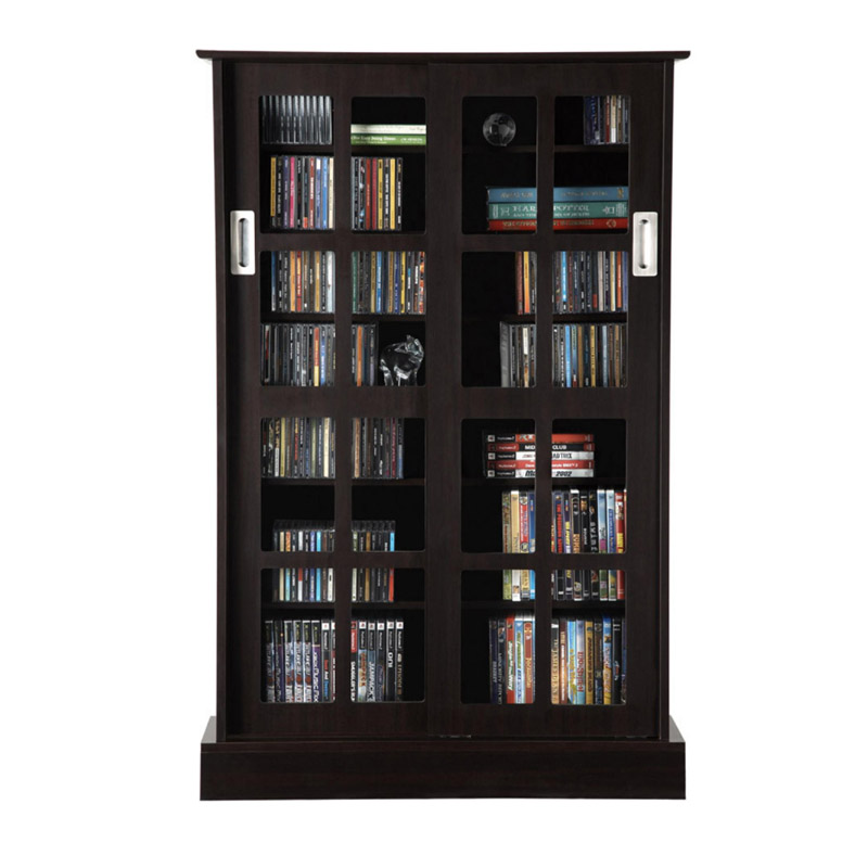 Atlantic Windowpanes Series Wood Media Cabinet With Sliding Glass