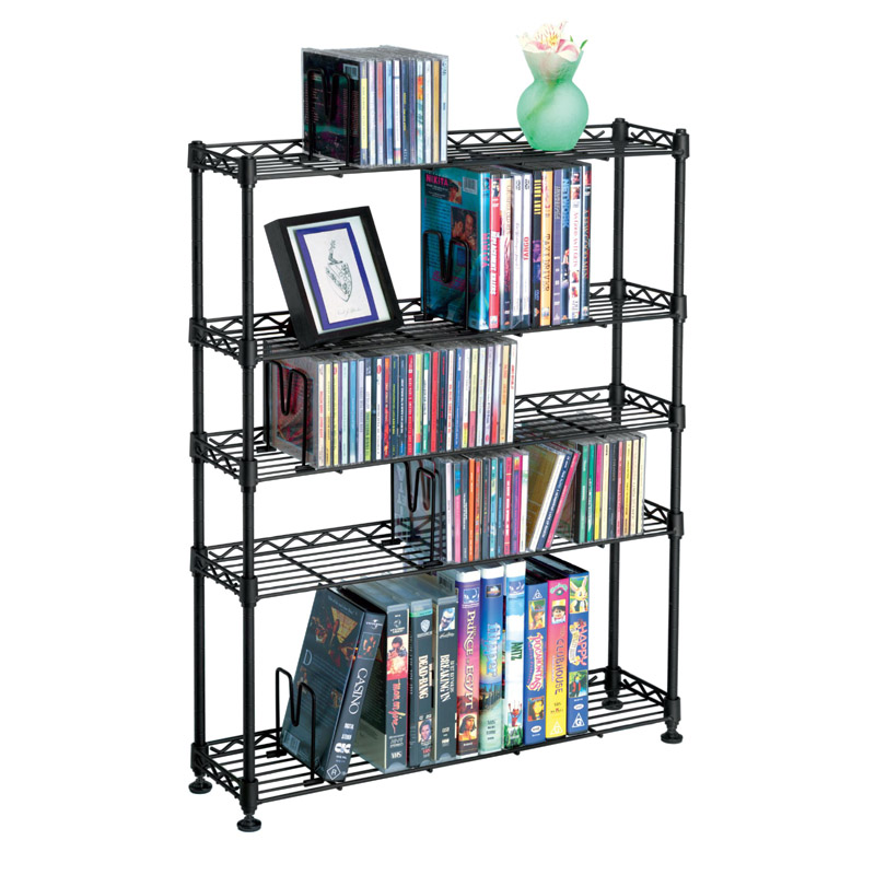 atlantic maxsteel 5 tier multimedia rack for cds dvds and bluray black 3010. Black Bedroom Furniture Sets. Home Design Ideas