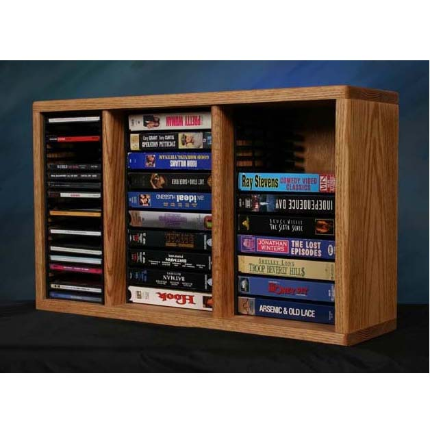 View A Larger Image Of The Wood Shed Solid Oak CD DVD VHS Media Storage Rack