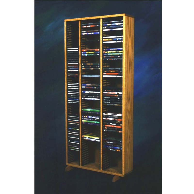 View A Larger Image Of The Wood Shed Solid Oak Tall CD DVD VHS Storage Rack