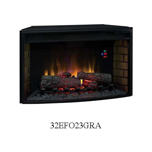Classic Flame Curved Front 32 Inch Electric Fireplace Insert With