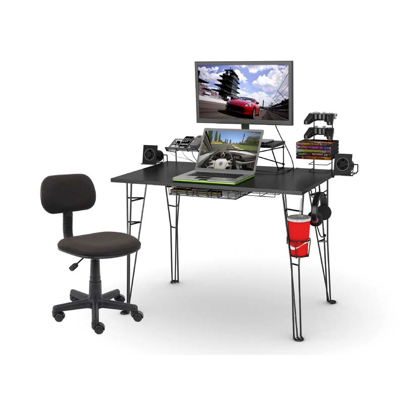 View A Larger Image Of The Atlantic Gaming Desk And Task Chair Combo Black