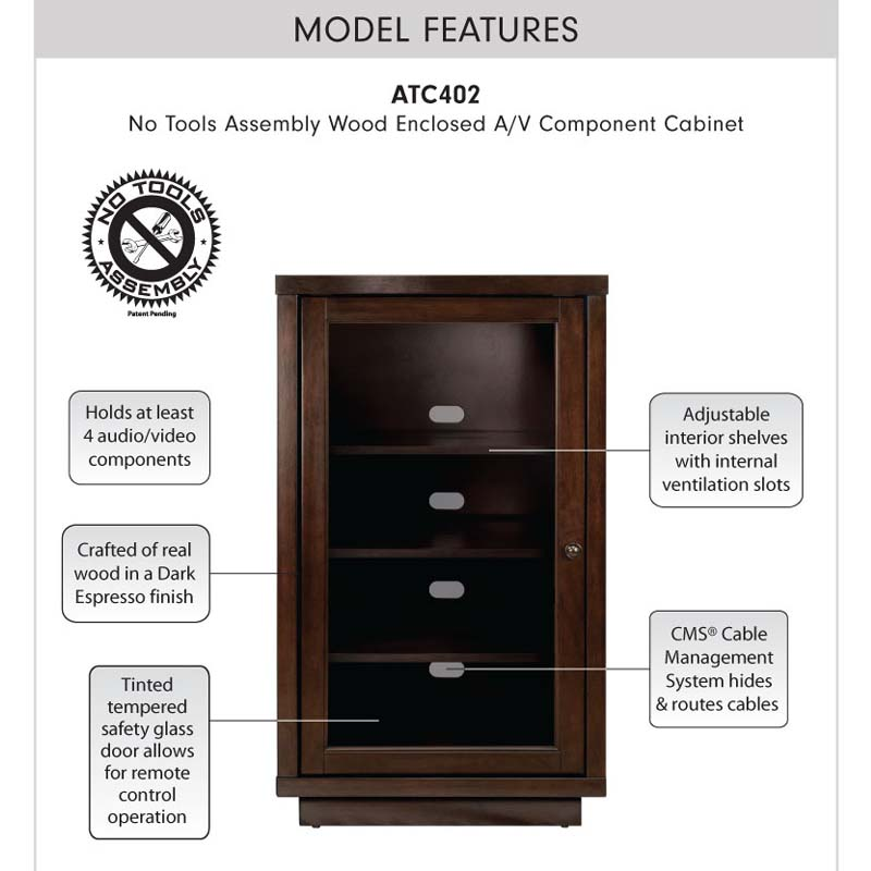 bello no tools assembly wood audio video cabinet (dark espresso) atc402