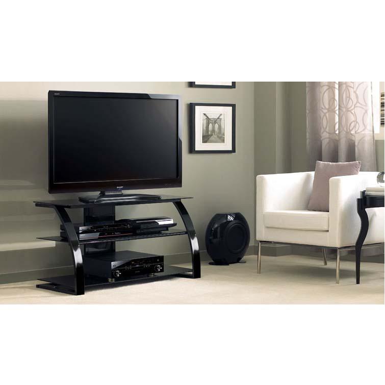 Bello High Gloss Black 46 Inch Glass Flat Panel Tv Stand