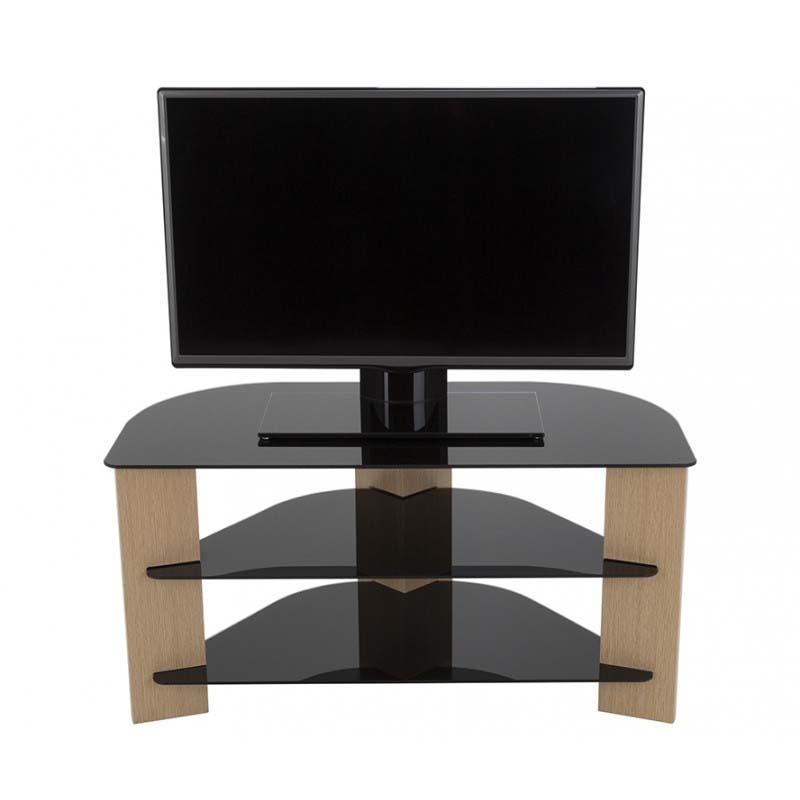 competitive price 065f4 4b287 AVF Varano Black Glass 42 in. Corner TV Stand (Oak) FS900VAROB-A