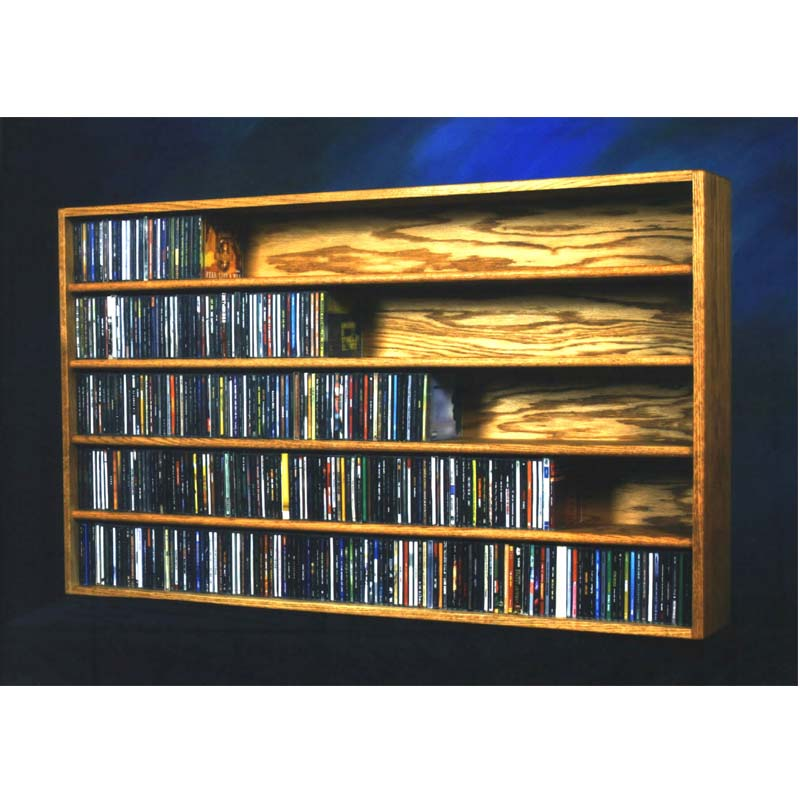 Wood Shed Solid Oak Wall Or Shelf Mount Cd Rack 590 Cd Capacity Tws
