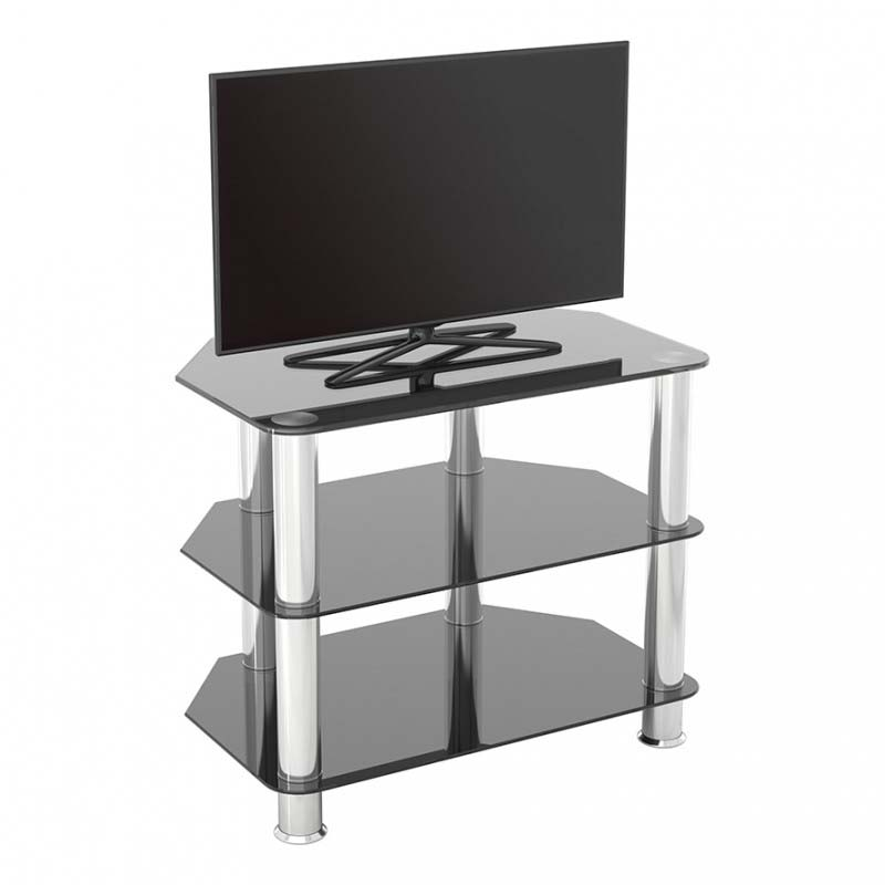 Avf Sdc Series Black Glass 32 Inch Corner Tv Stand Chrome Sdc600 A
