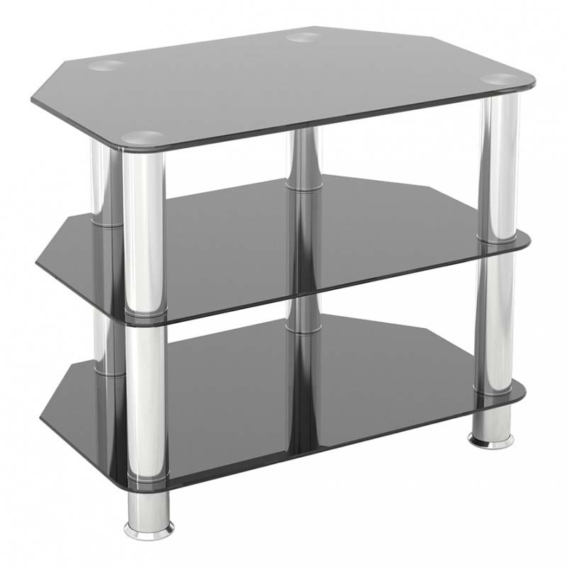 Avf sdc series black glass 32 inch corner tv stand chrome for Mobile basso angolare