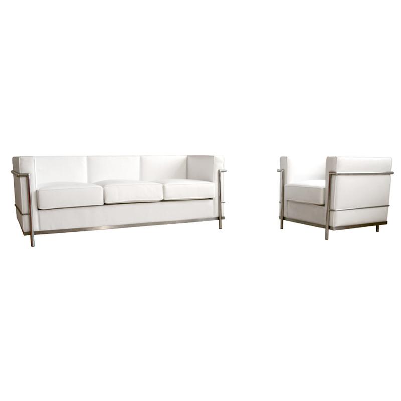 Wholesale Interiors Le Corbusier Petite White Leather Sofa Chair Set ...