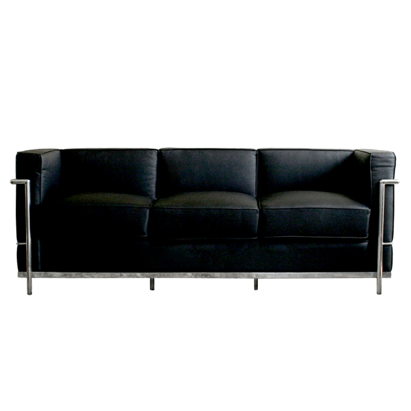 Wholesale Interiors Le Corbusier Petite Black Leather Sofa (Black) 610-SOFA