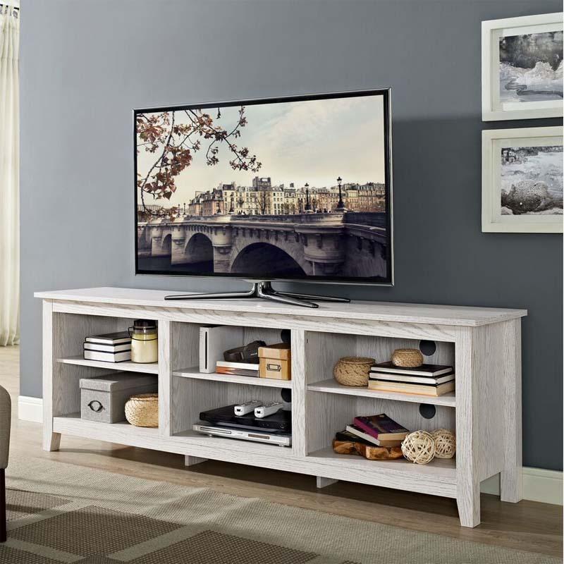 Walker Edison Essentials 70 Inch Tv Stand White Wash W70cspww