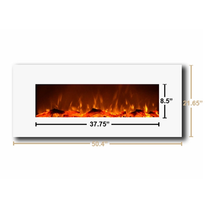 Touchstone Ivory 50 Inch Electric Wall Mounted Fireplace