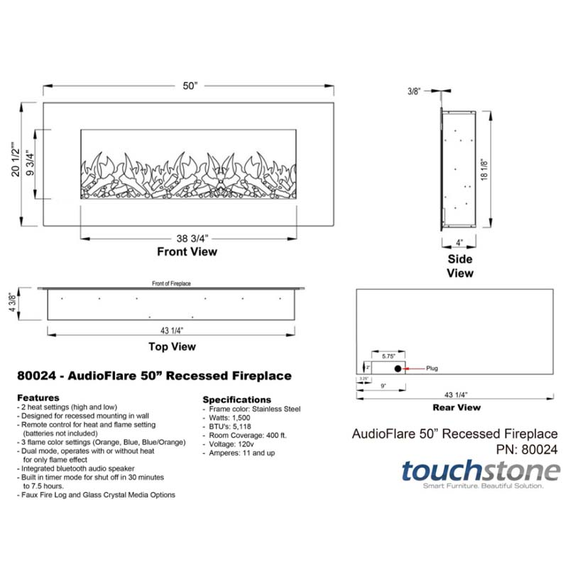 Touchstone Audioflare Wall Mounted Fireplace With