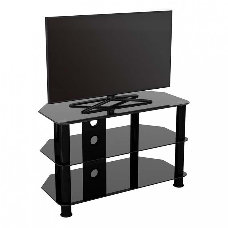 Avf Sdc Series Black Glass 42 Inch Corner Tv Stand Black Sdc800cmbb A