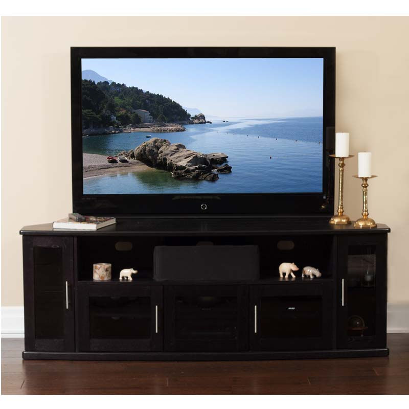 Plateau Corner Wood TV Cabinet For Up To 90 In. TVs (Black) Newport 80 B