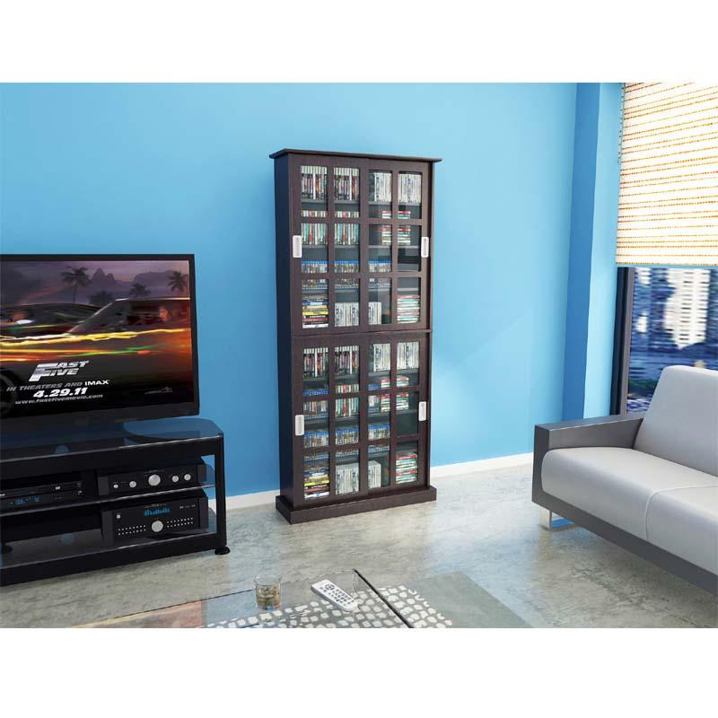 Superbe Atlantic Windowpane Media Cabinet With Sliding Glass Doors (Espresso)  94835757