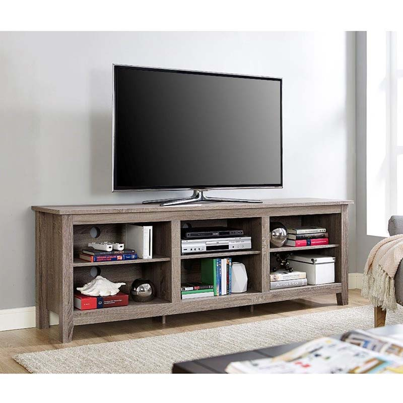 Walker Edison Essentials 70 Inch Tv Stand Ash Grey W70cspag