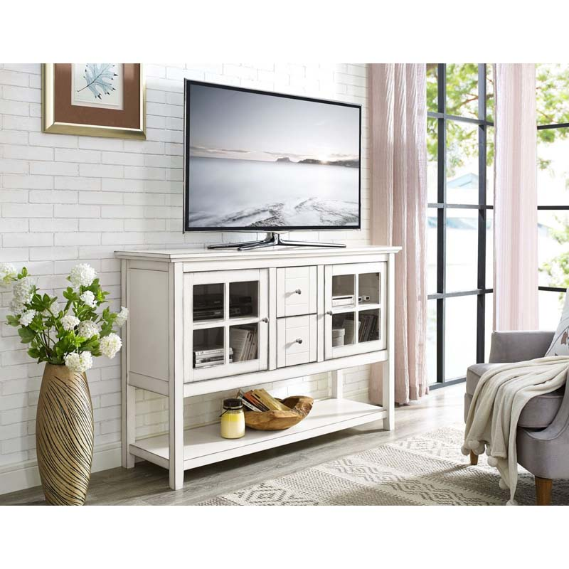 View A Larger Image Of Walker Edison Highboy 55 Inch TV Cabinet (Antique  White)
