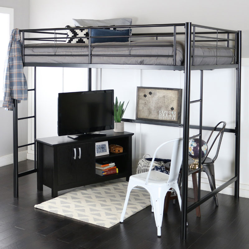 View A Larger Image Of The Walker Edison Steel Full Size Loft Bed Black